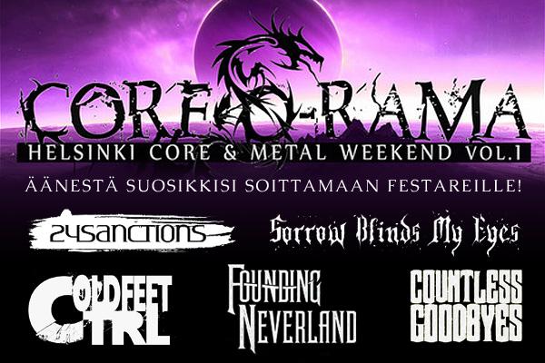 Kuka näistä yhtyeistä esiintymään Core-O-Rama tapahtumaan?
