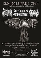 Kaaoszine esittää: Sacrilegious Impalement, Sadokist @ Club Prkl 12.4.2013