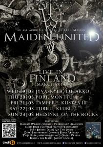 Maiden United Suomeen viidelle keikalle maaliskuussa