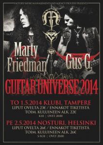 Toukokuussa Suomesta yhteisen Euroopan kiertueensa aloittavat Gus G ja Marty Friedman tuovat keikoilleen mukanaan erikoisvieraita