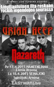 Uriah Heep ja Nazareth Hämeenlinnaan ja Seinäjoelle huhtikuussa