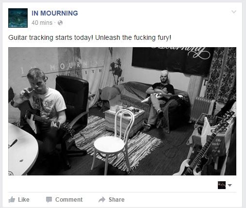 Progressiivisen death metalin ystäville hyviä uutisia: In Mourning siirtynyt studioon äänittämään seuraavaa albumiaan