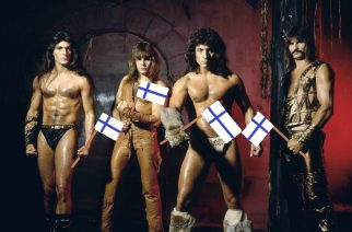 UNITED KINGDOM - OCTOBER 01:  Photo of Scott COLUMBUS and Ross FRIEDMAN and MANOWAR and Joey DeMAIO and Eric ADAMS; Posed studio group portrait, full length, barechested L-R Joey DeMaio, Ross the Boss, Eric Adams and Scott Columbus,  (Photo by Fin Costello/Redferns)
