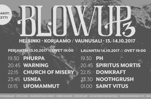 Vaihtoehtoinen raskasmetalli valtaa Helsingin viikonloppuna – Blowup Vol. 3 13.-14.10.2017