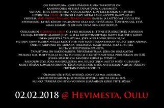 Hevillä hyvinvointia – hyväntekeväisyystapahtuma 2.2. Oulun Hevimestassa
