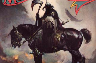 "Nimikkoalbumin kansitaide perustuu Frank Frazettan fantasiamaalaukseen ""The Death Dealer"""