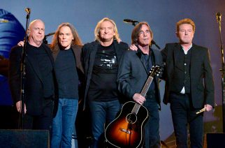 LOS ANGELES, CA - FEBRUARY 15:  Musicians Bernie Leadon,  Timothy B. Schmit, Joe Walsh and Don Henley of The Eagles perform with Jackson Browne (2nd from R) onstage during The 58th GRAMMY Awards at Staples Center on February 15, 2016 in Los Angeles, California.  (Photo by Lnd ester Cohen/WireImage)