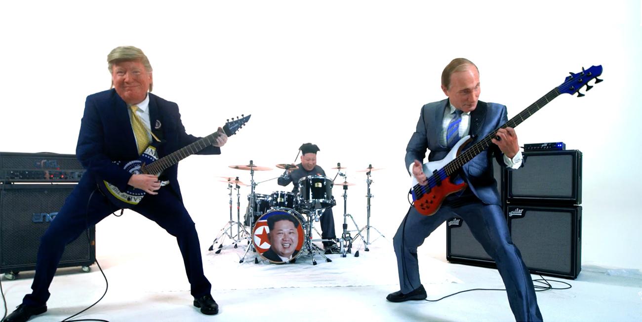 Koripalloilua ja jammailua: Nuclear Power Trion tuoreella musiikkivideolla Donald Trump, Vladimir Putin ja Kim Jong-un viihtyvät keskenään