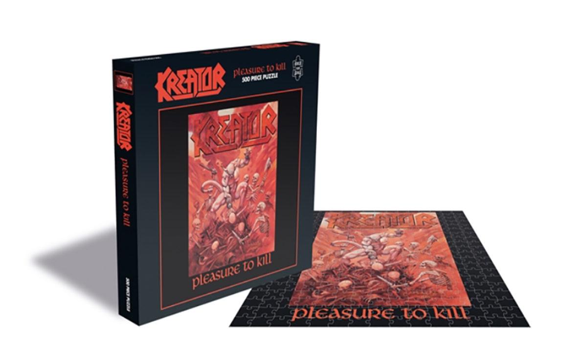 """Viihdykettä koronakaranteeniin: Kreatorin """"Pleasure To Kill"""" -albumin kansitaiteesta palapeli"""